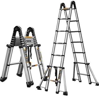 Extension ladder Portable Aluminum Telescoping Ladder Extension adjustable Step Ladder Compact premium extension ladder (C...