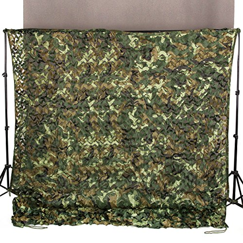 Ginsco 65ft x 10ft 2mx3m Woodland Camouflage Netting Desert Camo Net for Camping Military Hunting Shooting Blind Watching Hide Party Decorations 65x10ft 2Mx3M