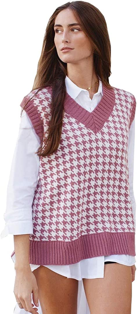 BerryGo Women's Argyle Sweater Vest Cropped Kansas City Mall Sw shipfree Knitted Plaid Y2k