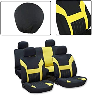 ROADFAR Seat Cover Universal Car Seat Cushion w/Headrest - 100% Breathable Washable Automotive Seat Covers Replacement fit for Most Cars(Black/Yellow)