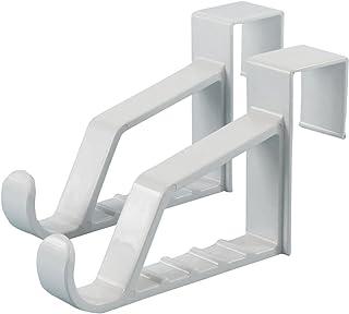 Hangerworld 6.9-Inch Super Fuerte de plástico sobre la Puerta Ganchos para Abrigos/Ropa/Toallas, Pack de 2, Color Blanco