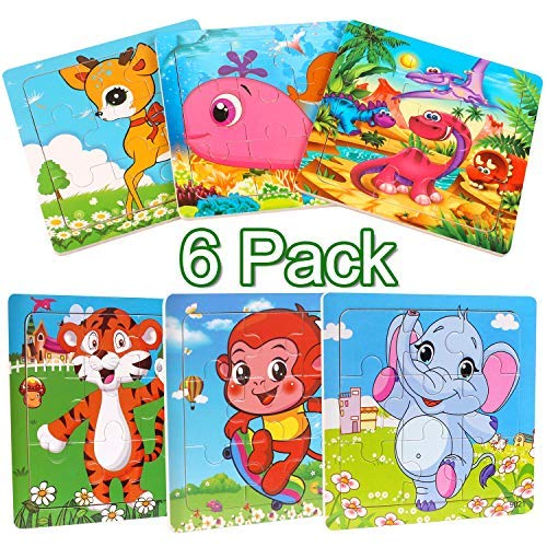 StillCool - Puzzle infantil de madera, 9 piezas, juego de 6 puzles de madera, para 2 a 5 años, juegos educativos