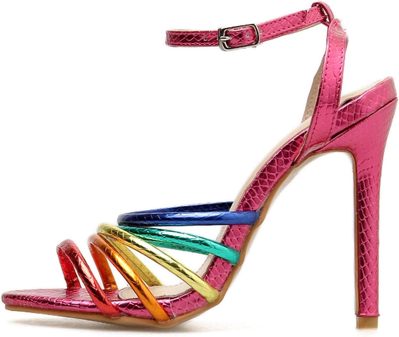 Summer Women 11.5cm High Heels Rainbow Sandals Female Fetish Glitter shoes Lady Valentine Cross
