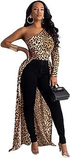 OLUOLIN Women Sexy One Shoulder Long Puff Sleeve High Low Asymmetrical Irregular Crop Top Blouse Tunic Shirt Dress