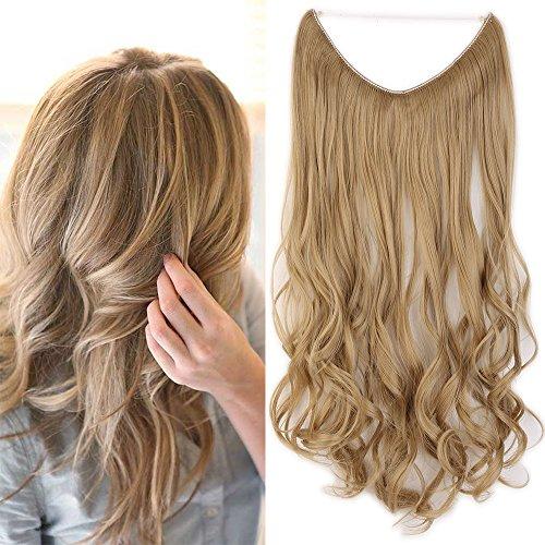 20' Extension Cheveux Ondulé Fil Invisible Fils...