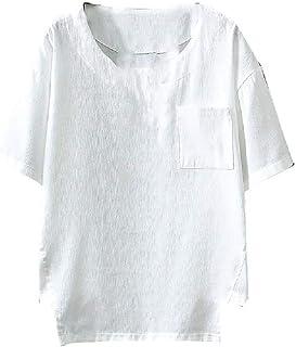 MogogN Mens Pure Colour Summer Plus Size Linen Crewneck Short Sleeve Tees