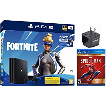 PlayStation 4 Pro 1TB Euro Version+ Fortnite Deluxe Bundle , Marvel spider-man game of the year US Edition, w/HESVAP US Adapter