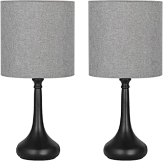 HAITRAL Bedside Table Lamps - Modern Desk Lamps Set of 2 for Bedroom, Office, College Dorm with Metal Base & Fabric Lamp Shade HT-BTL09-15X2 - Gray