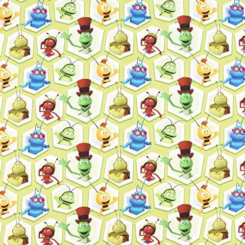 SCHÖNER LEBEN. Baumwolljersey Digitaldruck Biene Maja Charaktere Waben hellgrün bunt 1,5m Breite