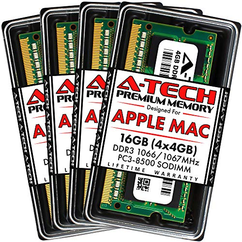 A-Tech 16GB (4 x 4GB) PC3-8500 DDR3 1066/1067 MHz RAM for iMac Late 2009 21.5-inch / 27-inch | 204-Pin SODIMM Memory Upgrade Kit