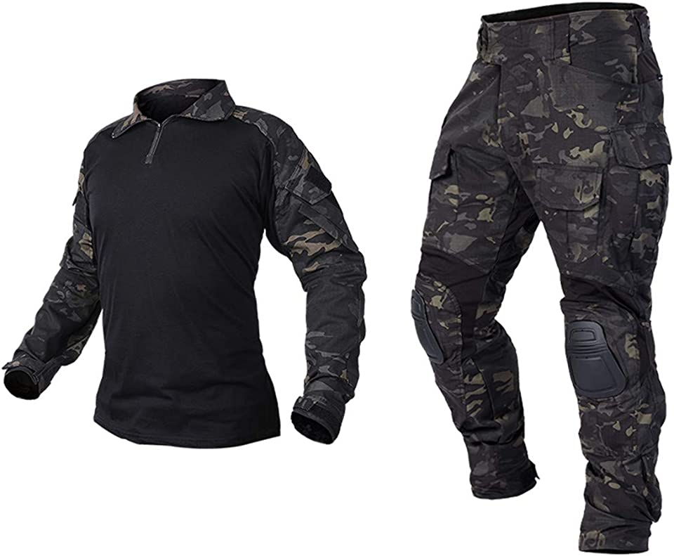 Men's Tactical Military Suits Long Sleeve Waterproof Rip-Stop Uniforms Combat Shirt and Pants Elbow Knee Pads