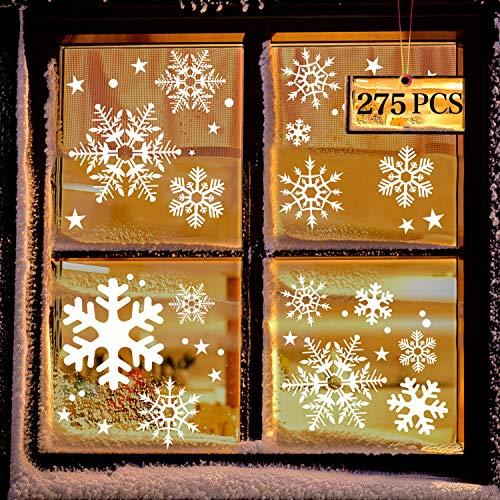 LessMo Weihnachtsfenster Aufkleber, 275 Pcs Fensterdeko Weihnachten, Party Neujahrsbedarf, DIY-Dekorationen für Türen, Fenster und Vitrinen, Weihnachten Theme Party, PVC Statische Aufkleber
