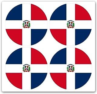 JRS Decals Dominican Republic Flag Baseball bat knob Decal Set - Set of 4 bat Stickers