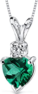 14 Karat White Gold Heart Shape 0.75 Carats Created Emerald Diamond Pendant