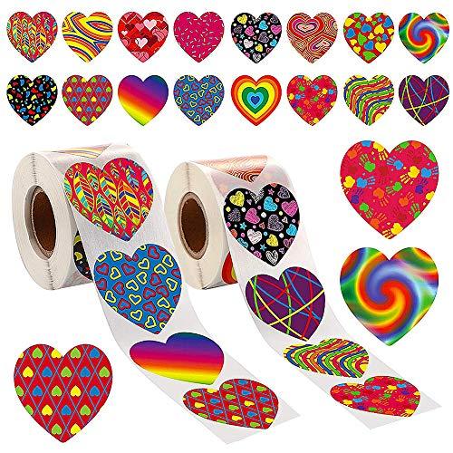 1000 Pegatinas Rollo Corazón Elegantes-JPYZ Pegatinas con Forma de Corazón Colorido de San Valentín Etiqueta Decorativa de Corazón de Amor de San Valentín para Adorno San Valentín