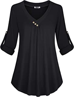Hibelle Women's Roll-up Long Sleeve Tunic Tops Solid/Stripe/Floral V Neck Casual Blouses Shirts