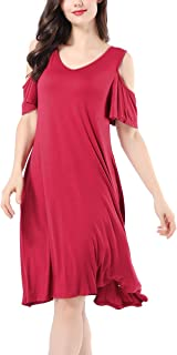 Avtosrno Womens Cold Shoulder Midi Dresses Casual Short Sleeve Swing Dress with Pockets