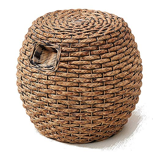 WZNING Taburete de trabajo taburete taburete de bambú taburete taburete taburete de ratán para tejer, vestir, reuniones, ocio, decoración al aire libre, madera, Ratán 3 colores, 45*45