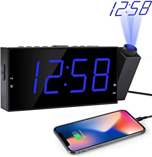 OnLyee Projection Digital Alarm Clock | Loud Ceiling Clock for Bedroom | Alarm Large 7� LED Display & Dimmer | USB Charging and Battery | Backup for Heavy Sleepers Kids, Elders