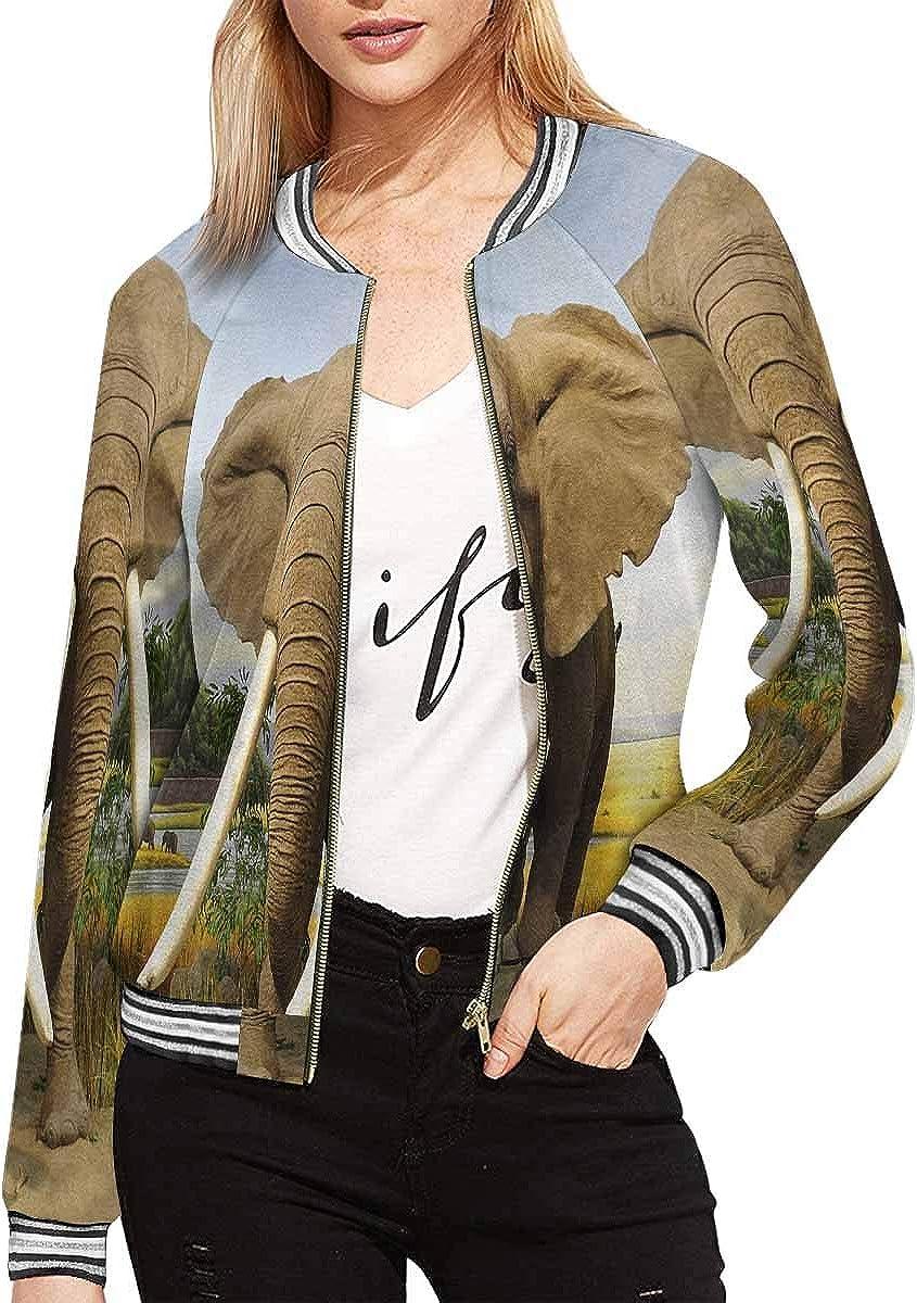 InterestPrint Women's Toucans and Flamingos Exotic Floral Jacket Zipper Coat Outwear