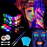 Lictin 8 x Peinture Corporelle-Kit de Peinture fluorescente UV Non Toxique Neon Avec 6*5,5g de face painting palette, 2*poudre flash, 3*crayons fluorescents, 4*pinceaux pour Halloween, Fête et Noël