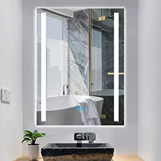"""PexFix LED Wall Mounted Mirror, 32""""x 24"""" Lighted Bathroom Mirror with Touch Dimming Switch, Anti Fog, IP44 Waterproof, 3 Colors of Lighting Options, 90+ CRI, LED Vanity Mirror Vertical & Horizontal"""