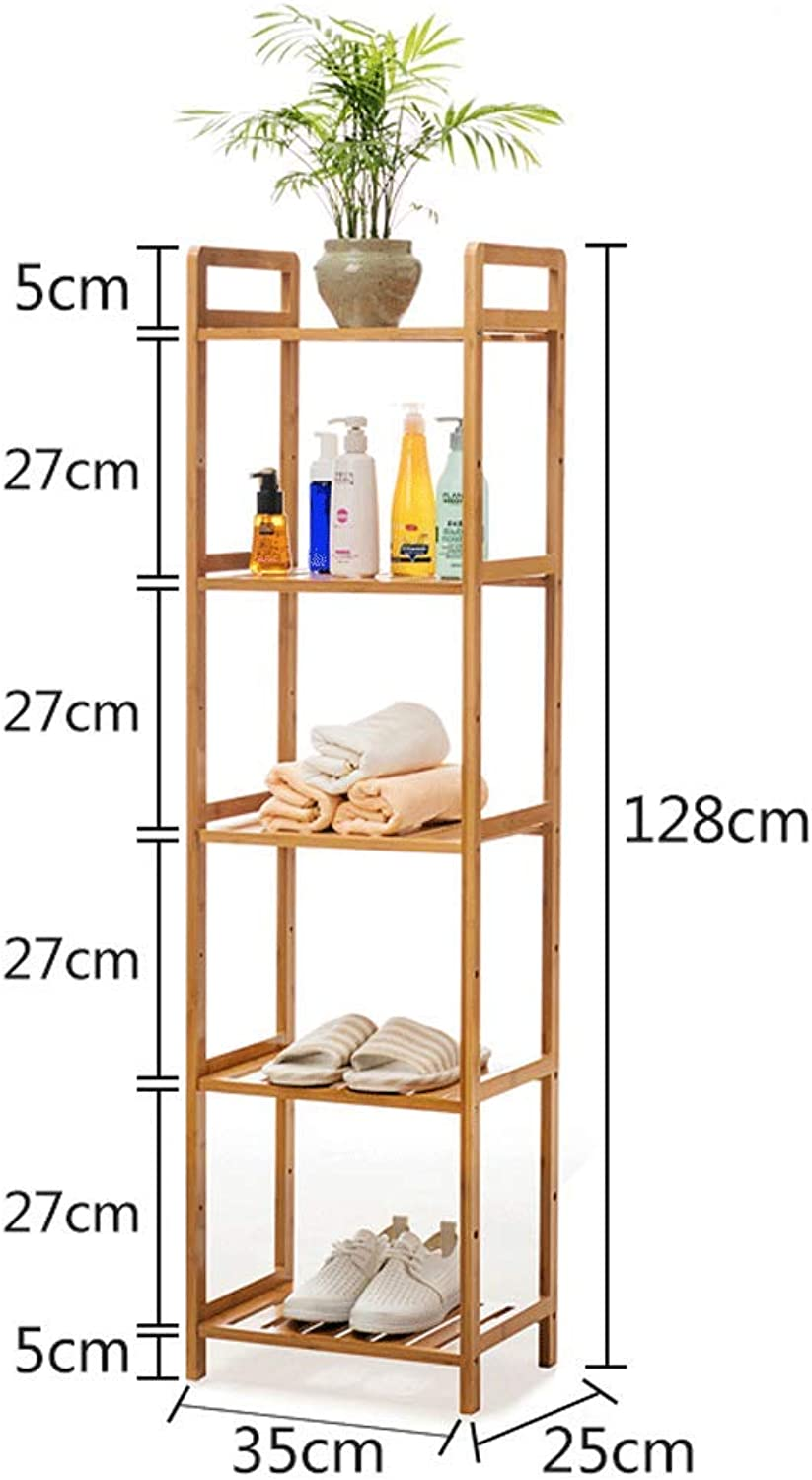 CCF Shelf Bathroom Bathroom Living Room Storage Rack Solid Wood 5 Layers Combination Multi-Layer Baffle Shelf CCFSF (Size   35  25  128CM)