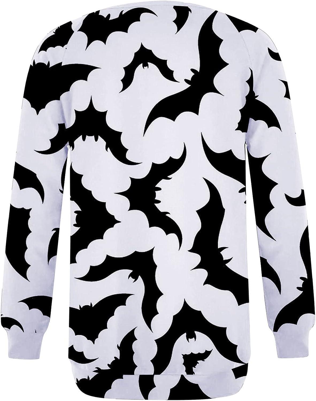UOCUFY Womens Halloween Sweatshirts, Womens Funny Cute Pumpkin Printed Crewneck Shirts Long Sleeve Pullover Blouse
