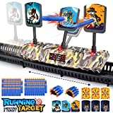 Growsly Electronic Running Shooting Targets for Nerf Guns Toys Scoring Auto Reset Digital Moving Targets with 100 Pcs Bullets 2 Hand Wrist Bands , Ideal Gift Toy for Kids-Boys & Girls