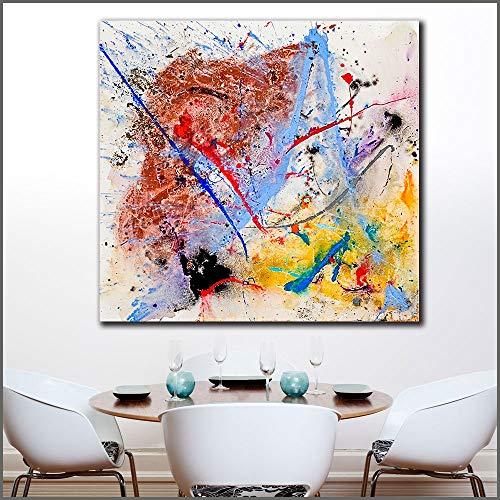 Groot formaat moderne abstracte olieverf lijn moederbord canvas muur foto frameloze schilderij 30x30cm