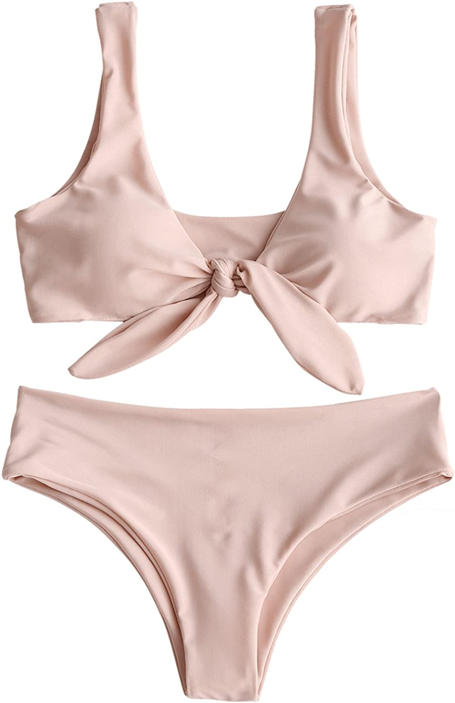 ZAFUL Max 82% OFF Luxury Women's Sexy Bikini Swimsuit Tie 2 Set Front Swimwear Knot