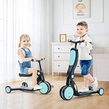 beberoad キックスクーター 5 in 1子供用3輪キックボード 3階段調節可能 三輪車 後輪ブレーキ 乗用玩具 持ち運び便利(水色)