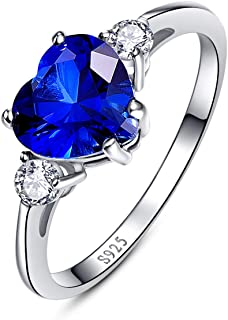 BONLAVIE Women's Created Blue Sapphire 925 Sterling Silver Heart Promise Ring for Her Birthday Anniversary Valentine's Day