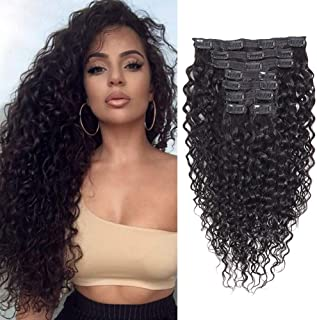 Apeasex Curly Hair Clip in Extensions Human Hair Brazilian Remy Curly Hair Clip ins Natural Black Color for African American Women 8Pcs/lot 120g/set (12 Inch)