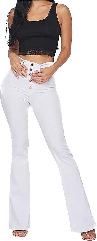 Bravetoshop Womens Classic Stretchy Flare Jeans High Waist Skinny Bell Bottom Wide Leg Denim Pants