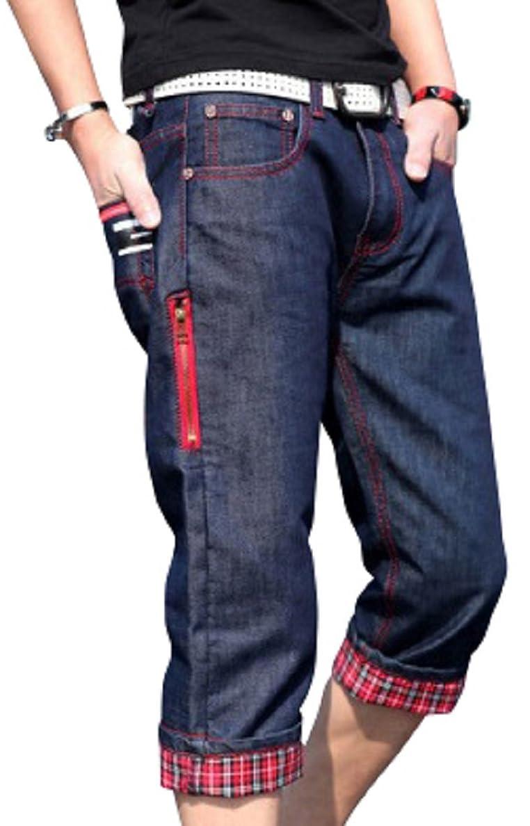 独立パーセント不利益[アルファーフープ] メンズ デニム ジーンズ ハーフ 7 分 丈 パンツ ジーパン ボトムス 半 ズボン 大きいサイズ D76