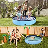 Foldable Dog Pool, 80x20 cm Slip-Resistant Kiddie Pool, Portable PVC Pet Dog Swimming Pool, Plastic Kiddie Pool for Kids, Dog Pet Bath Pool for Small to Large Dogs