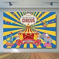 新しいサーカスパーティーの背景動物カーニバルテント子ベビーシャワー誕生日写真の装飾写真ブースの背景7x5ftビニール