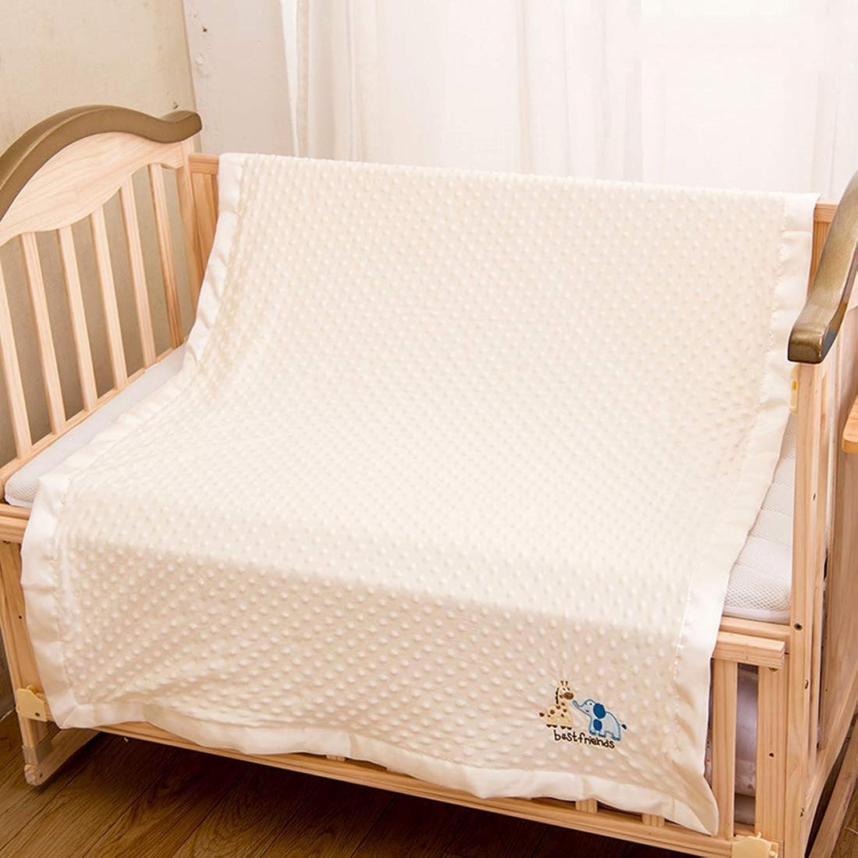 Raschel Baby Blanket, Dot Beanie Baby Blanket, Ultra Soft Breathable and Lightweight Stroller Blanket for Boys & Girls,Beige