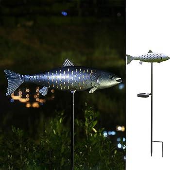 Metal Solar Fish Outdoor Decor Light Patio Yard Garden Lawn
