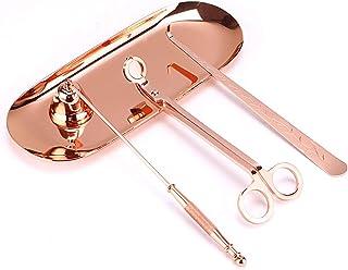 Sumnacon 4 Accessoires pour Bougie Outils éteindre Les Bougies éteignoir/Ciseaux/Pince/Plateau à mèche de Bougie (Rose doré)