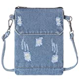 AOCINA Small Denim Purse Blue Jean Purse Denim Crossbody Bags for Women Small Purse for Teenager girls (A-Light Blue)