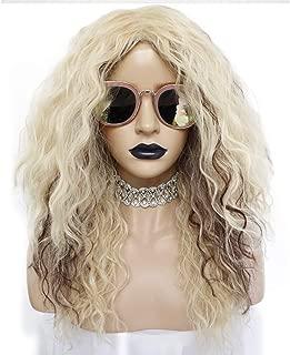 Anogol Hair Cap + 80S Rocker Wig for Women Blonde Wigs for Punk Rock Wig Long Curly Wigs Ombre Brown Wigs