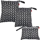 Damero 3pcs Travel Wet and Dry Bag with Handle for Cloth Diaper, Pumping Parts, Clothes, Swimsuit and More, Easy to Grab and Go, Black Arrows