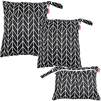 Damero 3pcs Travel Wet and Dry Bag with Handle for Cloth Diaper Pumping Parts Clothes Swimsuit and More Easy to Grab and Go Black Arrows