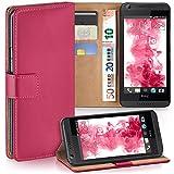MoEx Premium Book-Hülle Handytasche passend für HTC Desire 626G | Handyhülle mit Kartenfach & Ständer - 360 Grad Schutz Handy Tasche, Pink