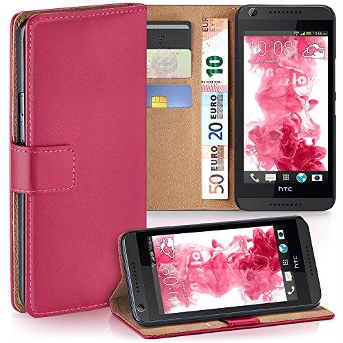 MoEx Premium Book-Case Handytasche kompatibel mit HTC Desire 626G | Handyhülle mit Kartenfach und Ständer - 360 Grad Schutz Handy Tasche, Pink