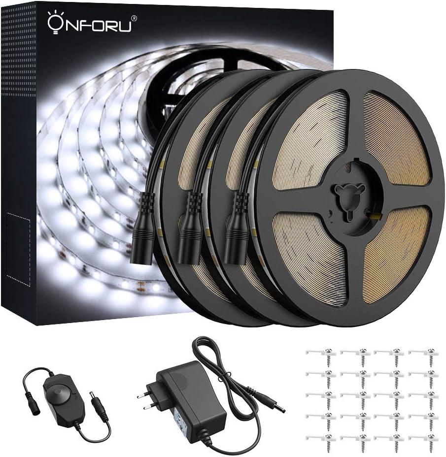 Onforu 15M Tira LED Regulable, Blanco Frío 5000K Tiras de Luces, 12V Franja LED con Regulador de Intensidad, Decoración Interior de LED 2835 con Fuente de Alimentación para Habitación Cocina S