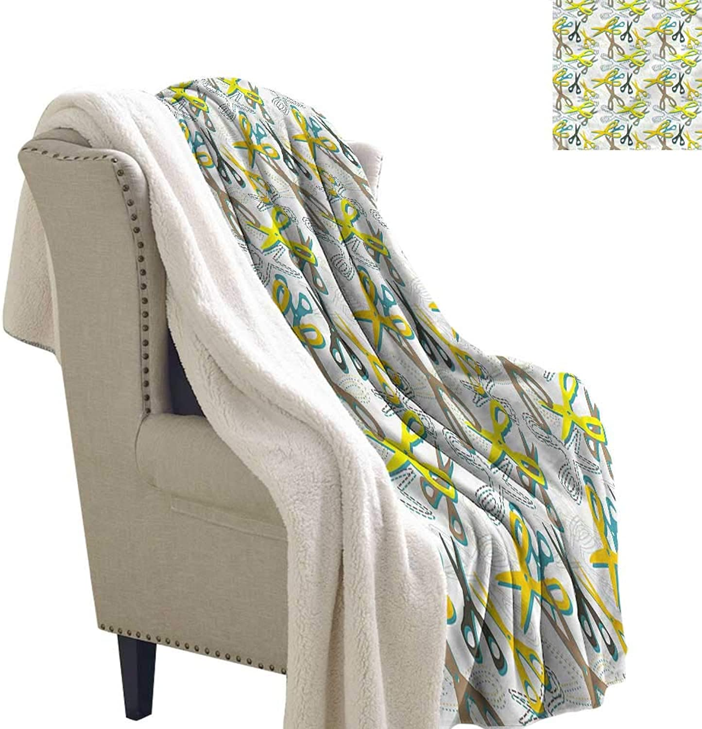 AndyTours Winter Quilt Retro colorful Scissors Tailoring Upgraded Thick Lazy Blanket Blanket W59 x L31