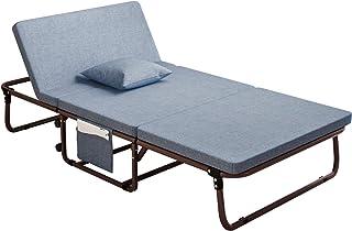 Mr IRONSTONE 折りたたみベッド リクライニングベッド 低反発 シングル マットレス 簡易ベッド コンパクト収納 寝具( ライトブルー)